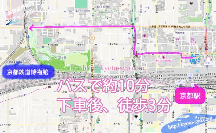 京都駅から京都鉄道博物館までの地図