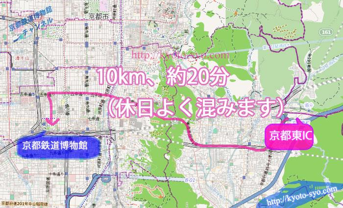 京都東ICから京都鉄道博物館への地図
