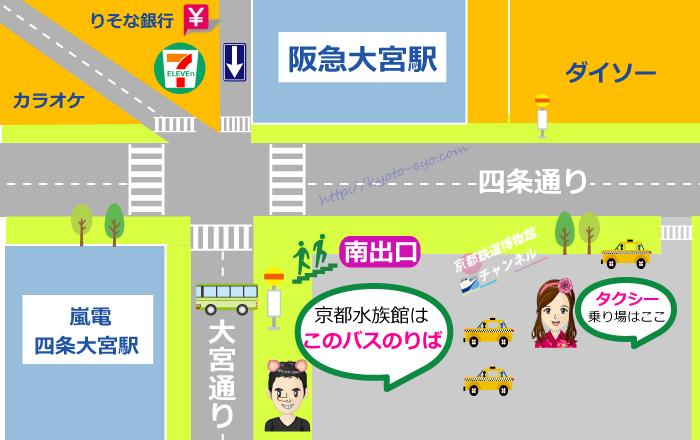 阪急大宮駅前のバスのりばマップ