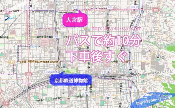 阪急大宮駅から京都鉄道博物館の地図