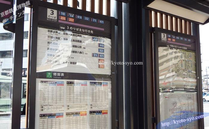 京都鉄道博物館行きのバスの時刻表