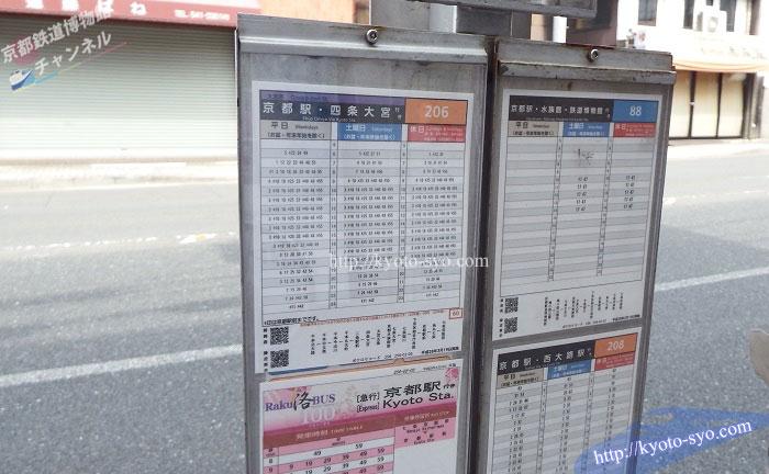 京都鉄道博物館行きの市バスの時刻表