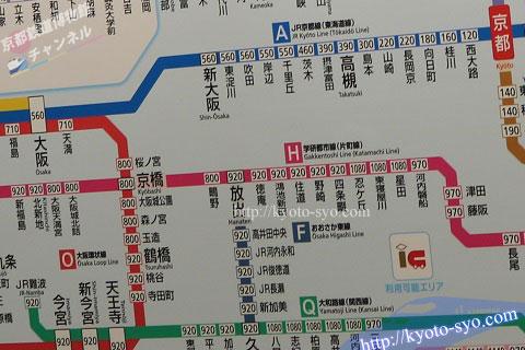 大阪から京都までのJR路線図