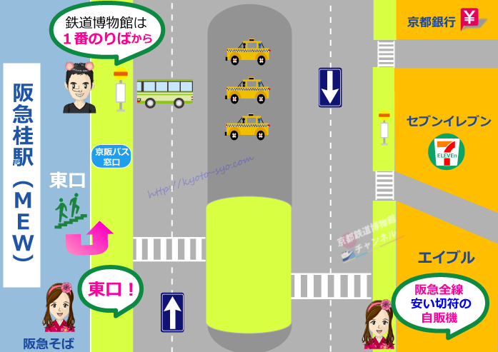 阪急桂駅前のバスのりばマップ