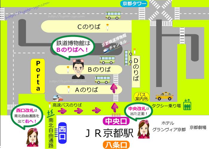 京都駅前のバス乗り場マップ