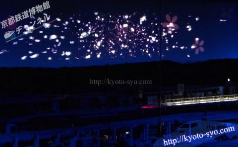 スクリーンに投影される桜吹雪