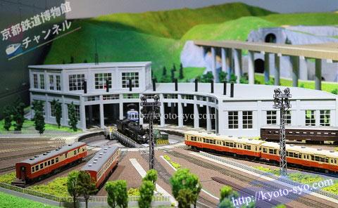京都鉄道博物館の扇形車庫のジオラマ