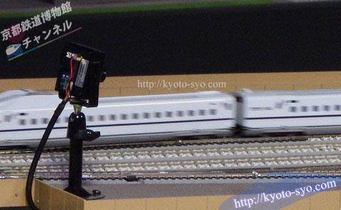 鉄道ジオラマの中に設置されたカメラ