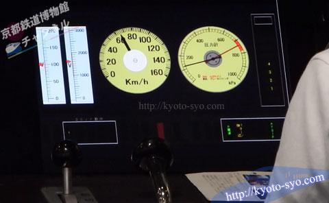 列車の速度計と圧力計