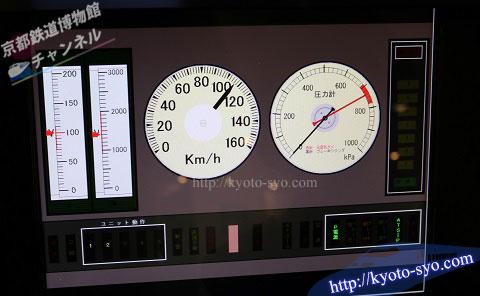 運転シミュレータの速度計と圧力計