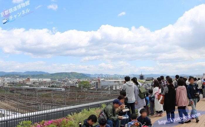 京都鉄道博物館のスカイテラスから見える電車