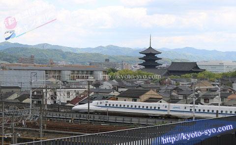 京都鉄道博物館の隣を走る新幹線