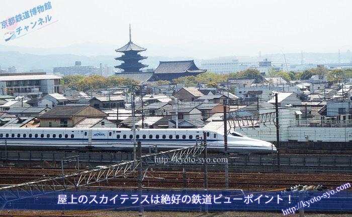 東寺を背景に走る新幹線