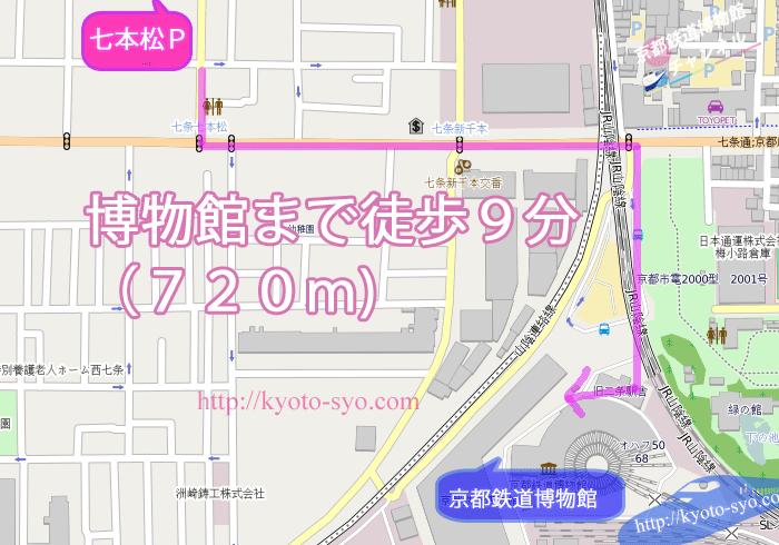 七本松駐車場から京都鉄道博物館の地図