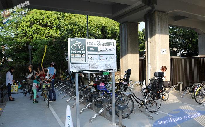 京都鉄道博物館の横にある駐輪場