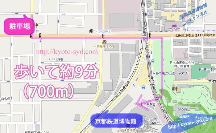 七条七本松パーキングから京都鉄道博物館の地図