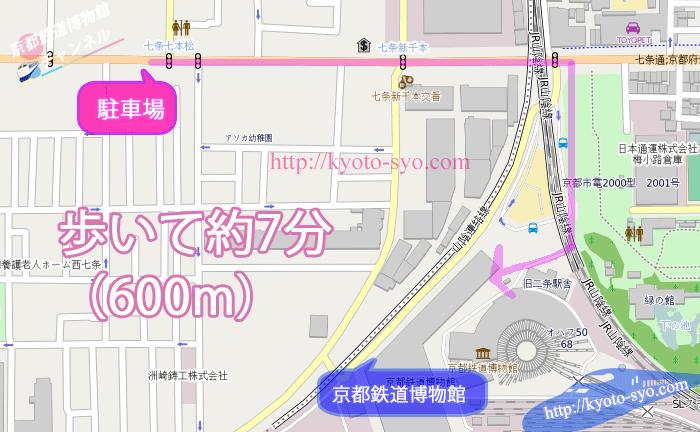 タイムズ七本松から京都鉄道博物館までの地図