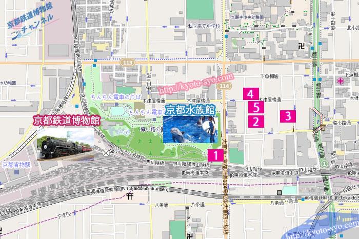 京都水族館周辺の駐車場マップ