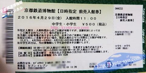 京都鉄道博物館のコンビニ前売りチケット